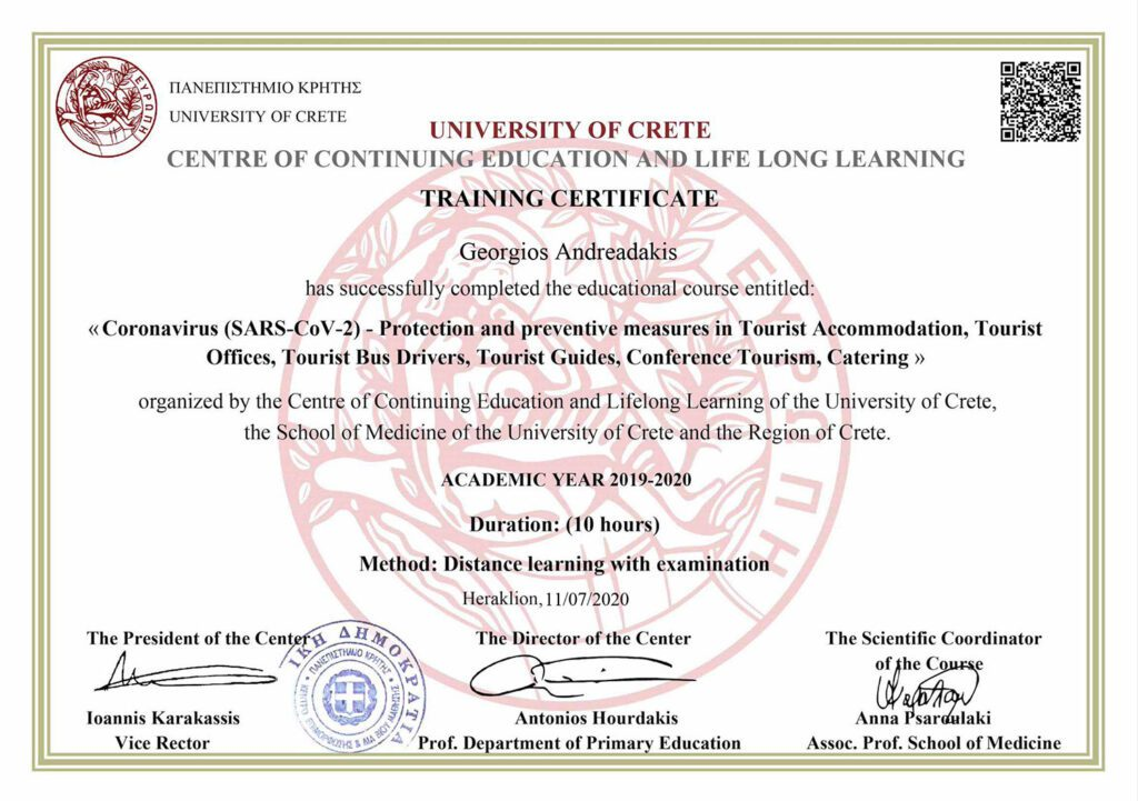 COVID-19 TRAINING CERTIFICATE